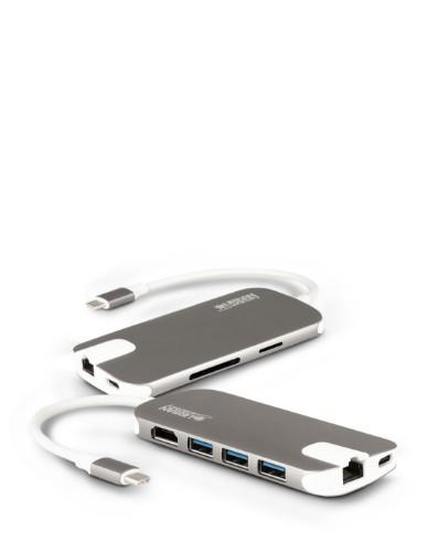 Urban Factory Hubee USB-C Mobile Station: Input USB-C, Output 1x USB-C, 3x USB 3.0, HDMI 4K, LAN and Memory Card Reader (SD, MSD, SDHC & SDXC)