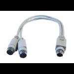 Cables Direct EX-099 PS/2 cable 0.25 m 6-p Mini-DIN 2x 6-p Mini-DIN Grey
