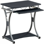 Techly Compact Desk for PC with Removable Tray, Black Graphite ICA-TB 328BK