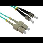 Cables Direct 5.0m ST-SC 50/125 OM3 fibre optic cable 5 m Blue