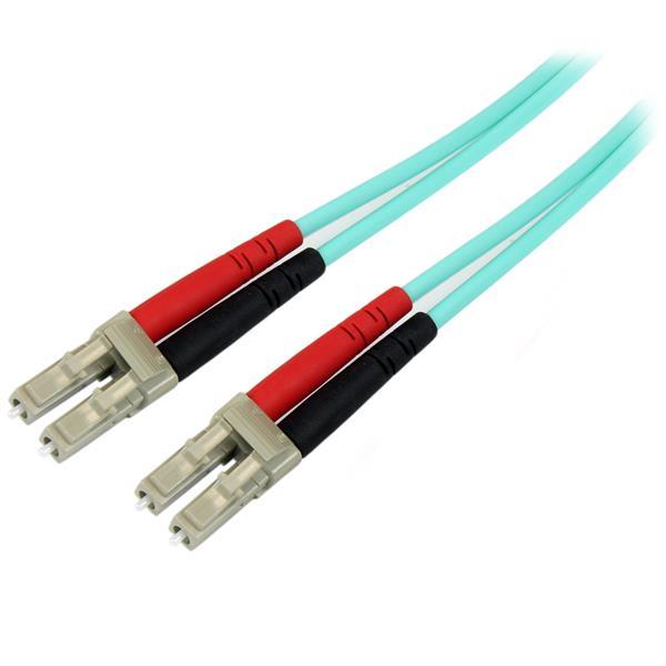 StarTech.com Cable de 1m de Fibra Óptica Dúplex Multimodo OM4 de 100Gb 50/125 LSZH LC a LC - Aguamarina