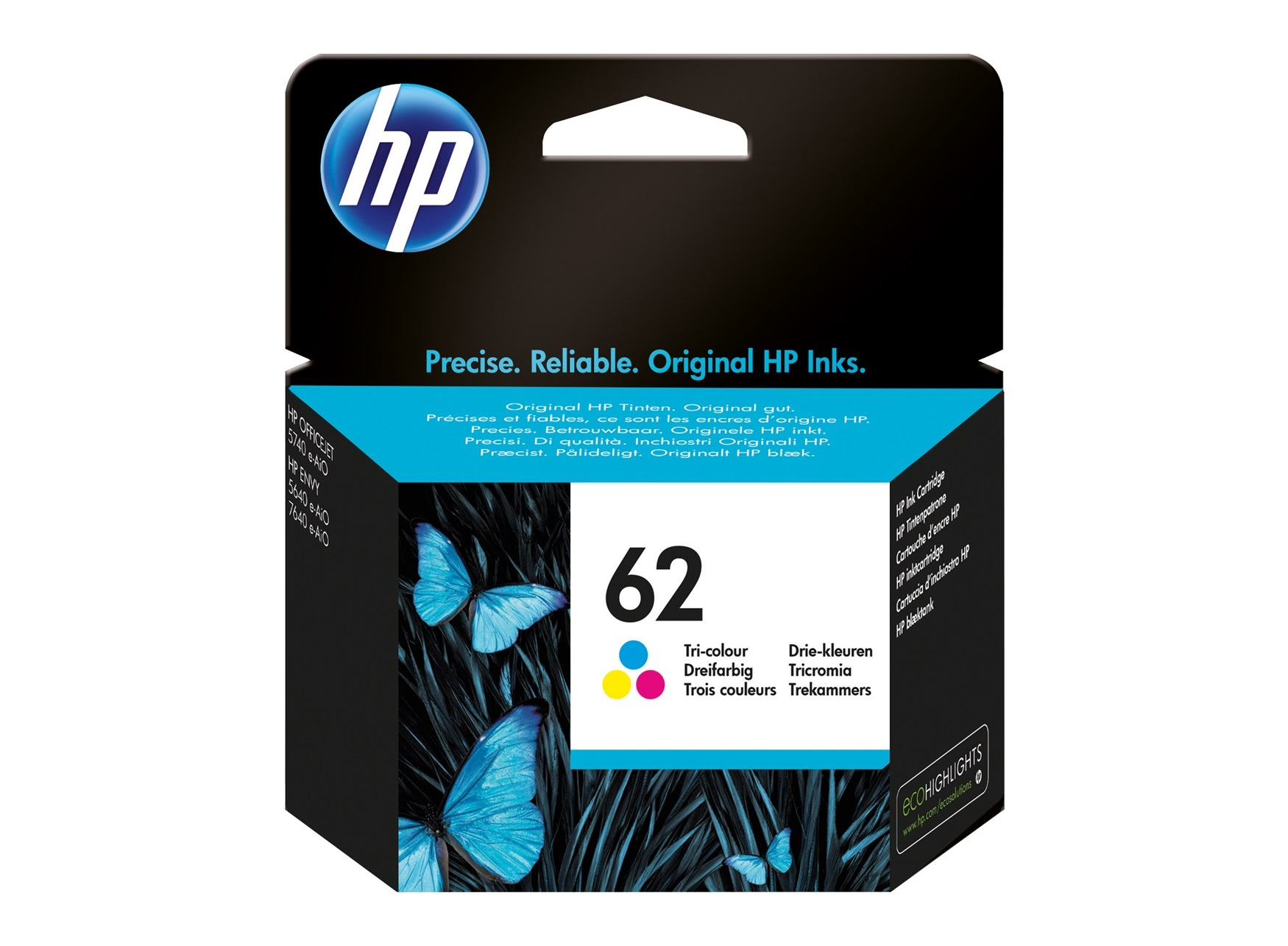 HP 62 Tri-color Ink Cartridge Original Cian, Magenta, Amarillo