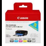 Canon PGI-550PGBK + CLI551 (PGBK/C/M/Y/BK/GY) Original Foto negro, Fotos cian, Fotos gris, Foto magenta, Negro, Amarillo para impresión de fotografías 6 pieza(s)
