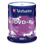 Verbatim DVD+R 4.7GB 16X Branded 100pk Spindle 100 pcs