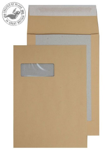 Blake Purely Packaging Board Back Pocket Peel and Seal Window Manilla C4 120gsm (Pk125)
