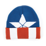 Marvel Captain America: Civil War Knitted Cap Shield Logo Pattern Cuffed Beanie, One Size, Multi-colour (KC