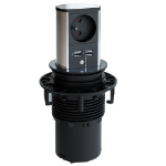 Bachmann ELEVATOR power extension 2 m 1 AC outlet(s) Indoor Black,Stainless steel