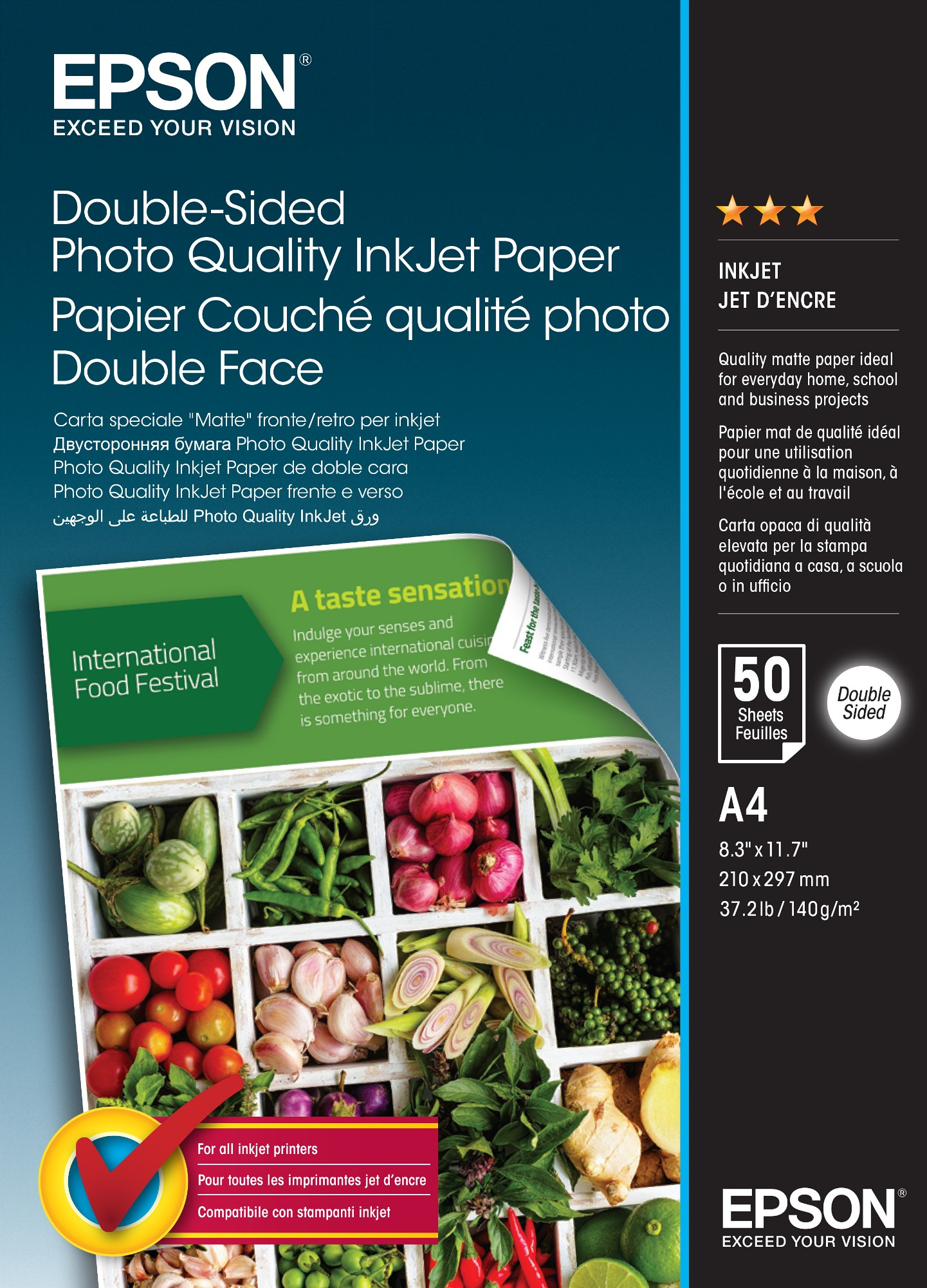 Epson Double-Sided Photo Quality Inkjet Paper - A4 - 50 Sheets