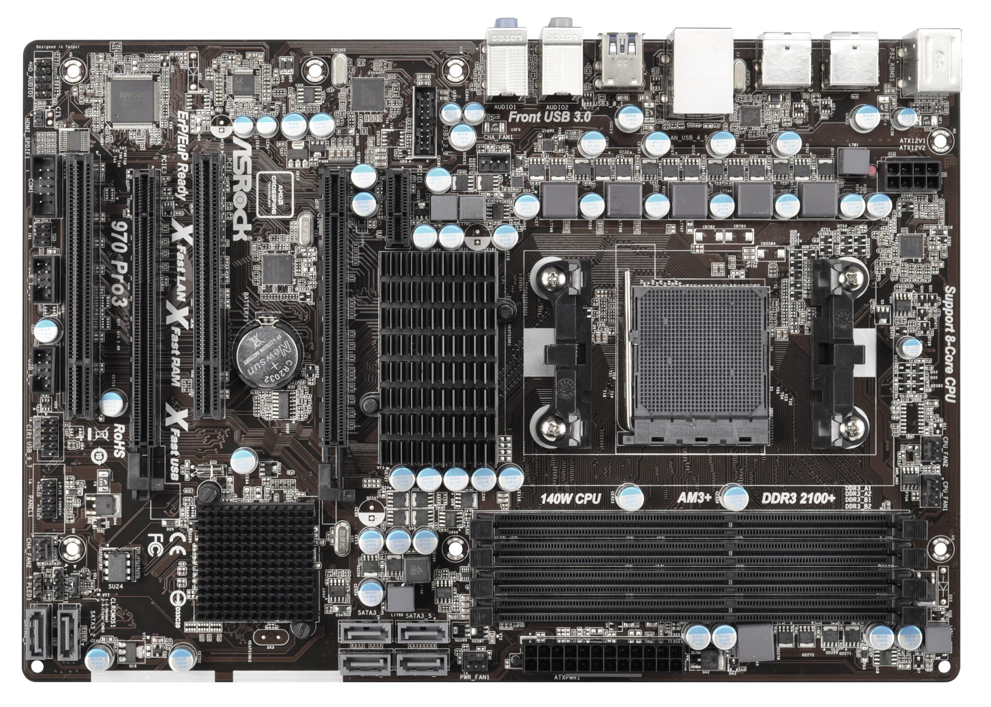 ASROCK 970 Pro3 R2.0 AMD 970 AM3+ ATX 4 DDR3 CrossFire RAID 140W CPU Support