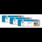 HP C9482A (91) Ink cartridge gray, 775ml, Pack qty 3