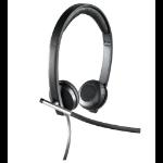 Logitech H650e Stereo USB Biauricular Diadema Negro auricular con micrófono
