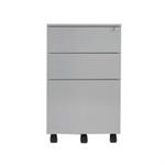 Jemini Silver Mobile Steel 3 Drawer Pedestal