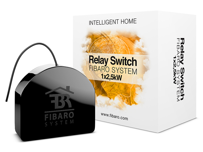 Fibaro FGS-212 Z-Wave, 1x 2.5 kW, Ø ≥ 50mm, 10A, 1mW, 0.8 W, 50m range Black electrical relay