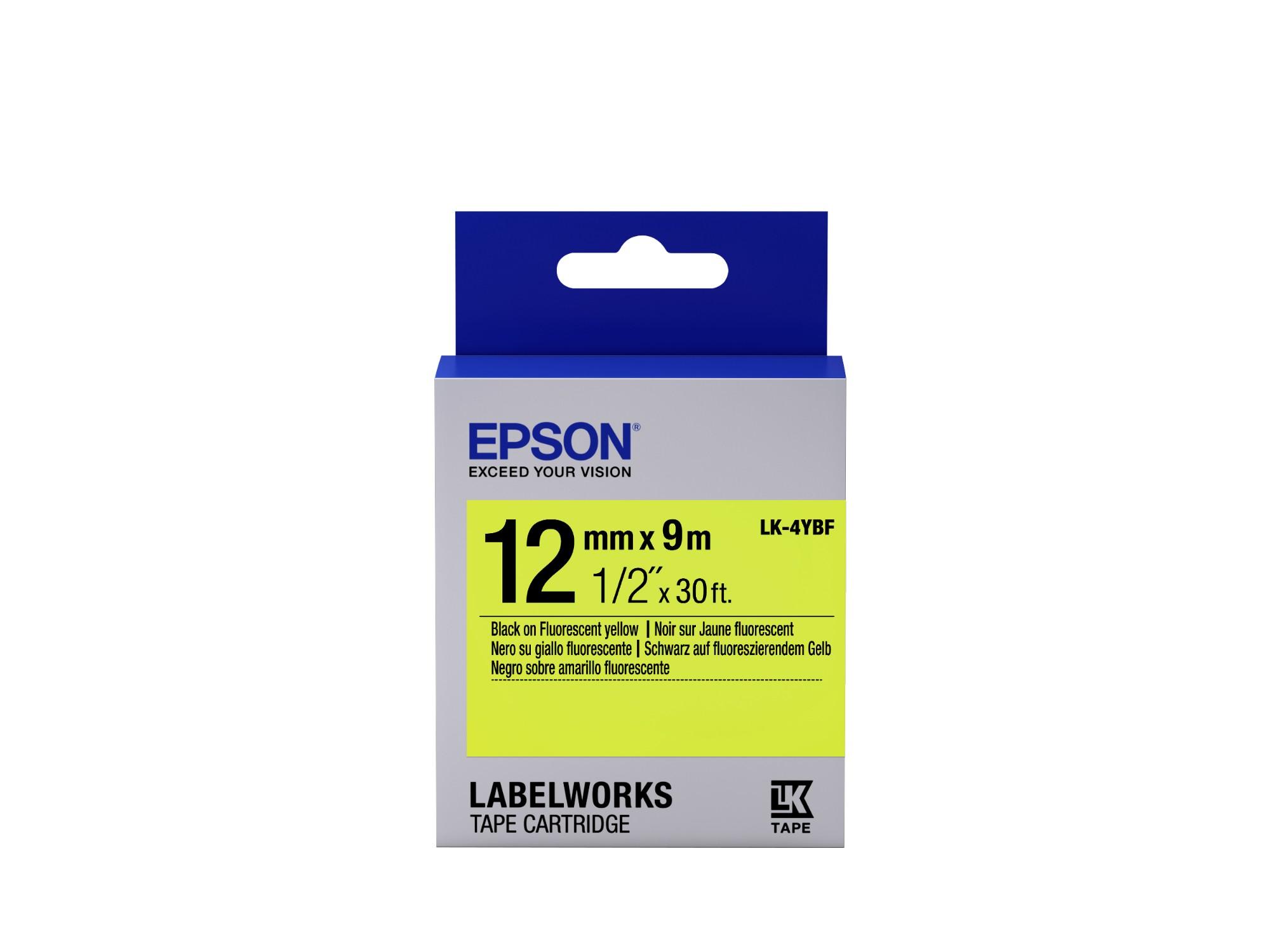 Epson Fluorescent Tape - LK-4YBF Fluor Blk/Yell 12/9
