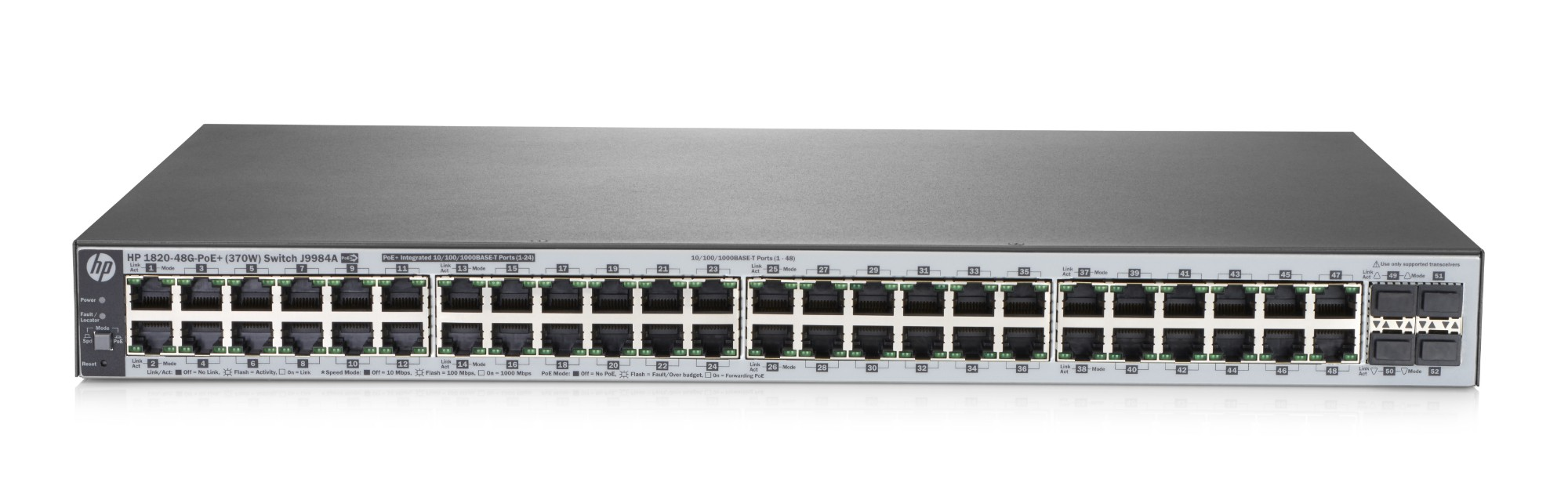 Hewlett Packard Enterprise 1820-48G-PoE+ (370W) Managed L2 Gigabit Ethernet (10/100/1000) Grey 1U Power over Ethernet (PoE)