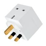 Tripp Lite PS1B 2-Outlet Power Strip - British BS1363A Outlets, 220-250V AC, 13A, Direct Plug, BS1363A Plug, White