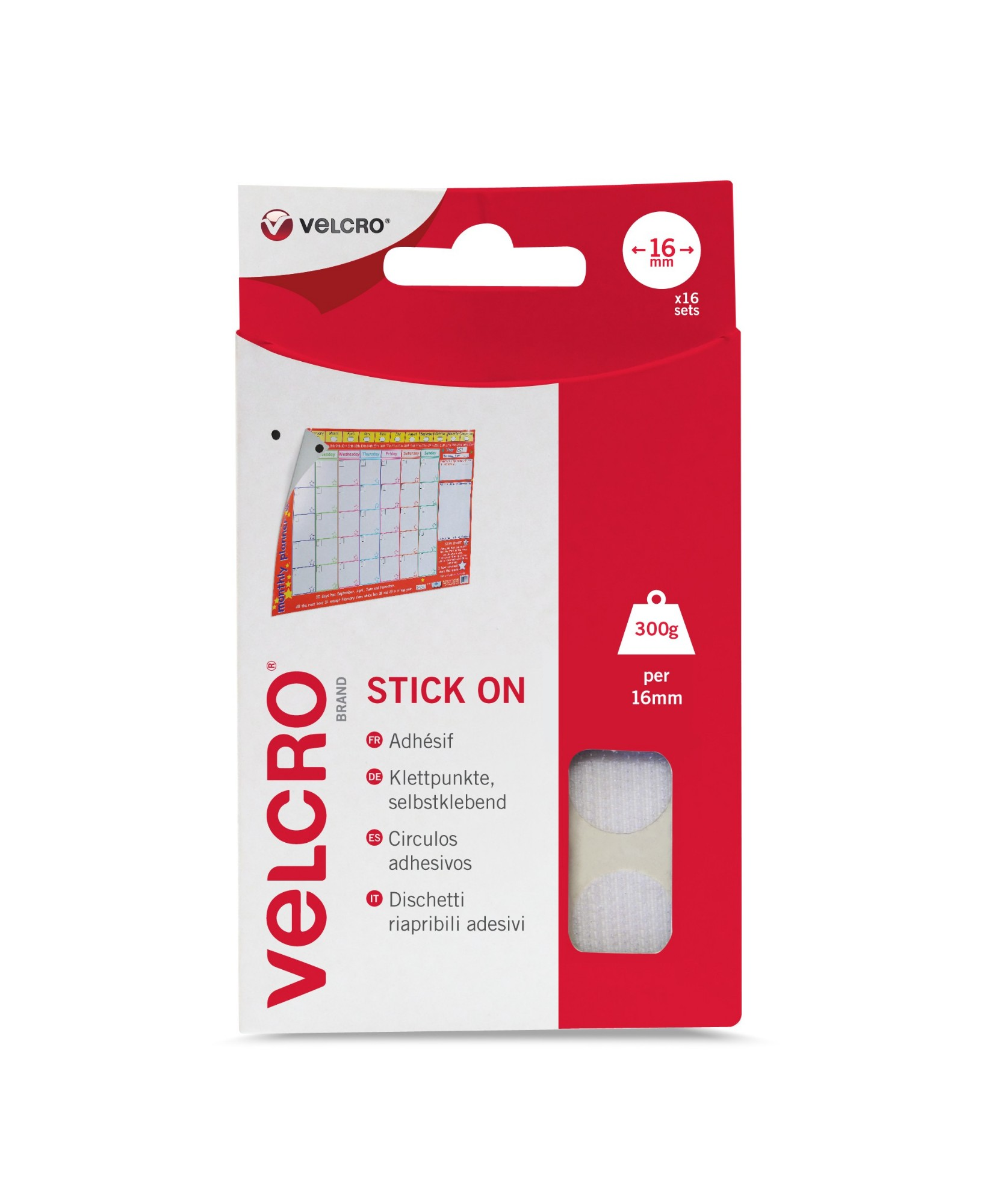 VELCRO White Stick On Coins 16mm 16 Sets