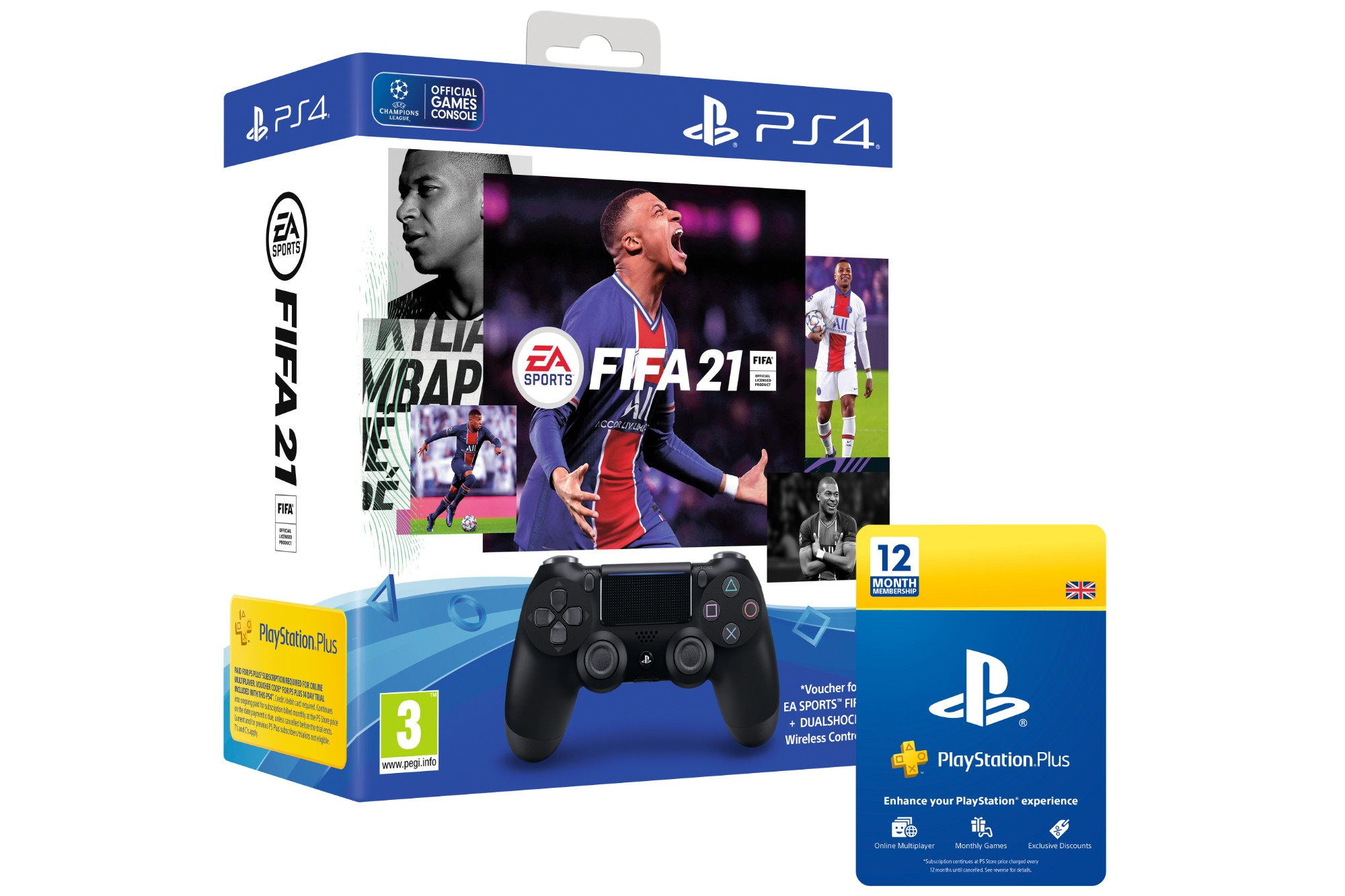 Sony PS4 DualShock Controller with FIFA 2021 Digital Download & PSN Plus Card 365 Days - Black