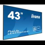 "iiyama LE4340UHS-B1 signage display 108 cm (42.5"") LED 4K Ultra HD Black"