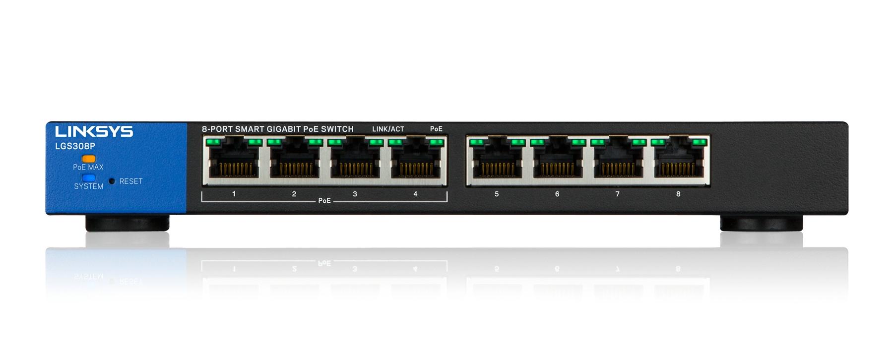Linksys Smart Switch Gigabit PoE+ de 8 puertos (LGS308P)