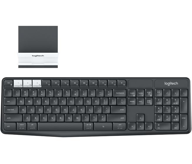 Logitech K375s keyboard RF Wireless + Bluetooth QWERTY US International Graphite, White