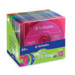 Verbatim CD-RW 80MIN 700MB 12X Color 20pk Matching Color Slim Cases CD-RW 700MB 20pcs