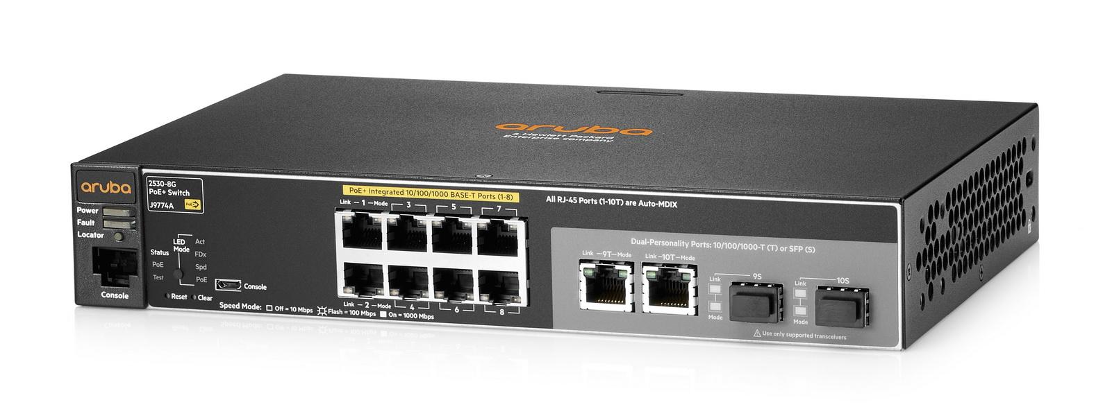 Hewlett Packard Enterprise Aruba 2530 8G PoE+ Managed L2 Gigabit Ethernet (10/100/1000) Black 1U Power over Ethernet (PoE)