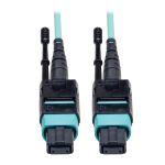 Tripp Lite MTP/MPO Patch Cable with Push/Pull Tabs, 12 Fiber, 40GbE, 40GBASE-SR4, OM3 Plenum-Rated - Aqua, 2M