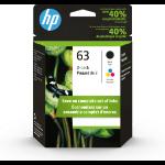 HP 63 2-pack Black/Tri-color Original Ink Cartridges