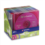 Verbatim CD-RW 80MIN 700MB 2X-4X Color 20pk Matching Color Slim Cases CD-RW 700MB 20pcs