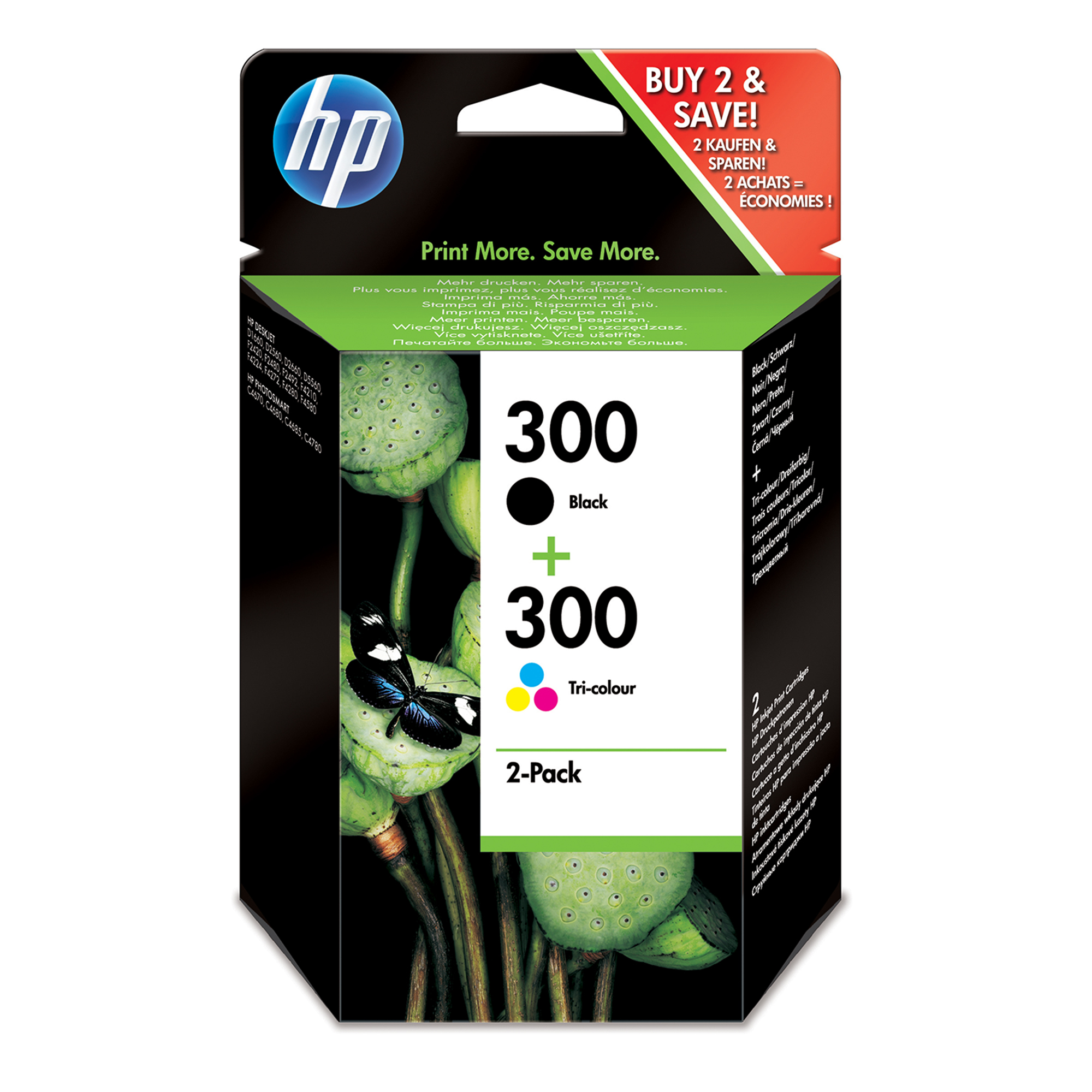 HP 300 Origineel Zwart, Cyaan, Magenta, Geel Multipack 2 stuk(s)