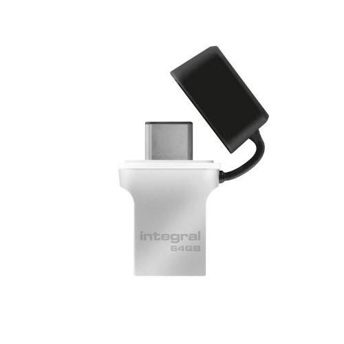 Integral FUSION 3.0 TYPE-C USB flash drive 64 GB USB Type-A / USB Type-C 3.2 Gen 1 (3.1 Gen 1) Silver,Black