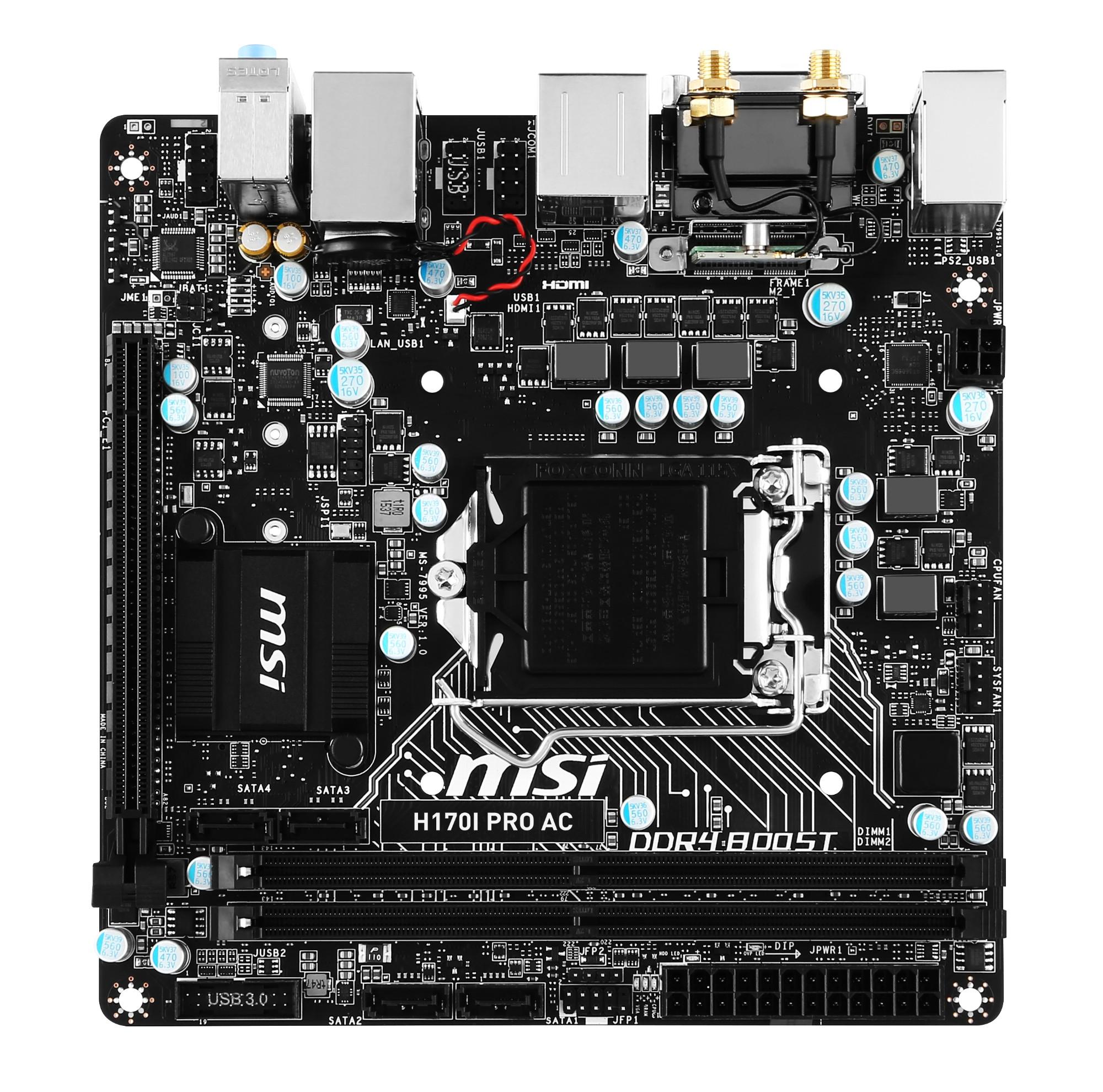 MSI H170I PRO AC Intel H170 LGA 1151 (Socket H4) Mini ITX motherboard