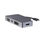 StarTech.com USB-C Multiport Video Adapter - Space Gray - 4-in-1 USB-C to VGA, DVI, HDMI or mDP - 4K