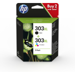 HP 3YN10AE (303XL) Printhead multi pack, 10ml + 12ml, Pack qty 2