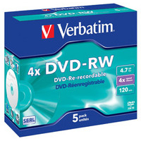 DVD-rw Media 4.7GB 4x 5-pk With Jewel Case