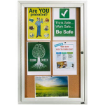 QUARTET ENCLOSED CORKBOARD 1 DOOR ALUMINIUM FRAME 900 X 600MM