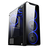 CIT Blaze PC Gaming Chassis Tempered Glass 6x Blue LED 120mm Fans Inc 240mm Radiator Support ATX/mATX/mI