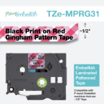 Brother TZE-MPRG31 label-making tape Black on red