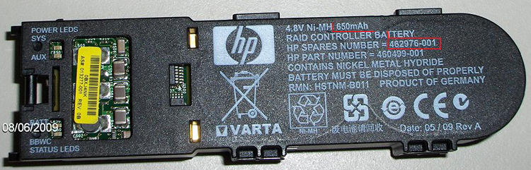 HP 462976-001 RAID controller Nickel-Metal Hydride (NiMH) 650 mAh