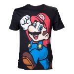 Nintendo Super Mario Bros. Men's Let's Go Mario T-Shirt, Large, Black (TS022630NTN-L)