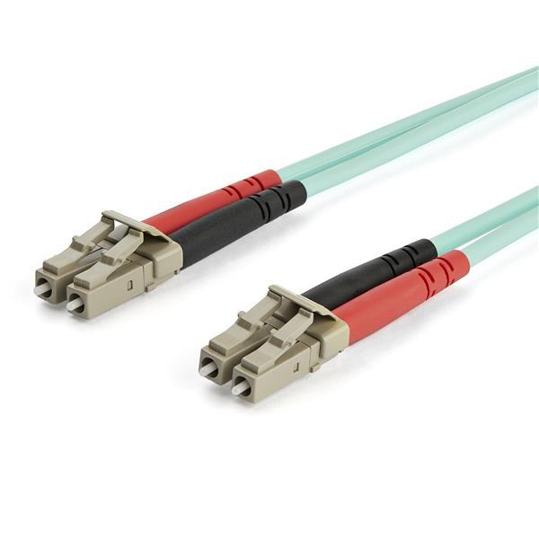 StarTech.com Cable de 15m de Fibra Óptica Multimodo Dúplex 50/125 LC a LC de 10Gb - Aqua - OM3 - LSZH - LOMMF