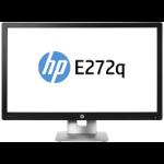 "HP EliteDisplay E272q 27"" Wide Quad HD LED Matt Black, Silver computer monitor"