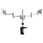 Brateck Dual Monitor Elegant Aluminium w/Arm&Desk Clamp Silver VESA75/100mm Up to27'