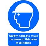 FSMISC SIGNSLAB A4 SAFETY HELMETS M/B/WORN PVC