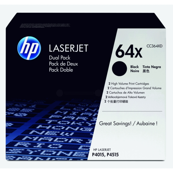 HP CC364XD (64XD) Toner black, 24K pages, Pack qty 2