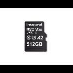Integral INMSDX512G-180/150V30 512GB MICRO SD CARD MICROSDXC UHS-1 U3 CL10 V30 A2 UP TO 180MBS READ 150MBS WRITE memory card MicroSD UHS-I
