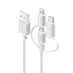 ALOGIC 3-in-1 Charge & Sync Cable - Micro USB Lightning & UBS-C - 30cm Silver - PRIME Series (Apple Certified)