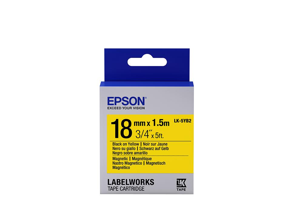 Epson Label Cartridge Magnetic LK-5YB2, zwart/geel 18 mm (1,5 m)