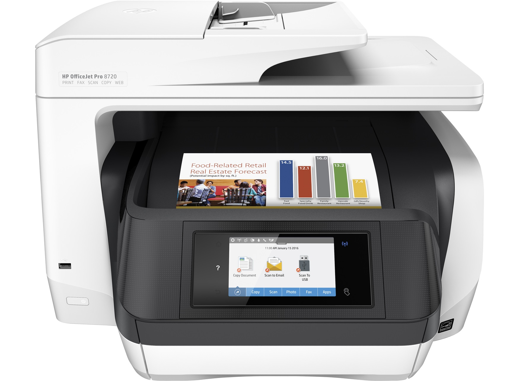 HP OfficeJet Pro 8720 AiO 4800 x 1200DPI Thermal Inkjet A4 24ppm Wi-Fi